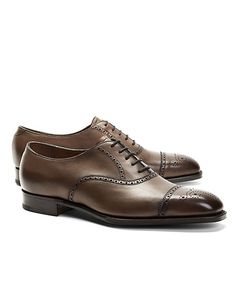 Edward Green Leather Medallion Perforated Captoes - Brooks Brothers