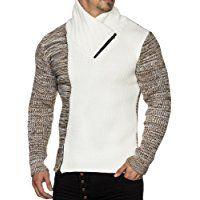TAZZIO Herren Styler Grobstrick-Pullover mit Zipper-Kragen Melange Muster 16478