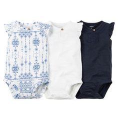 3-Pack Flutter-Sleeve Bodysuits