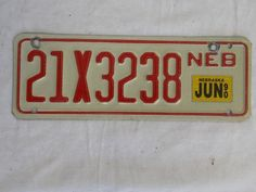 1990 NEBRASKA SMALL SIZE LICENSE PLATE 21X3238