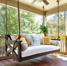 Not your average porch swing! Our swing beds are hand-built, unique and customiz… Not your average porch swing! Our swing Furniture, Porch Swing Bed, Diy Porch Swing, House With Porch, Daybed Swing, Porch Decorating, Porch Bed, Porch Swing, Building A Porch