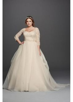 Oleg Cassini Plus Size Organza 3/4 Wedding Dress 8CWG731
