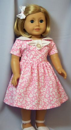 American Girl Doll Clothes Pink 1950's by buttonandbowboutique, $23.00 (This would be lovely for my future 1950's girl, Phryne)