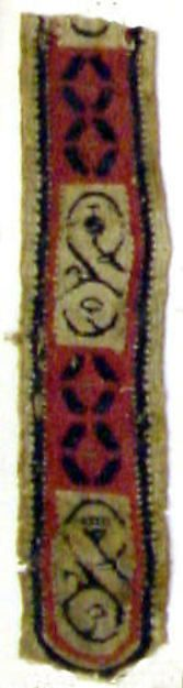 Textile Fragment Date: 6th century Geography: Made in Byzantine Egypt Culture: Coptic Medium: Linen, wool Dimensions: Overall: 9 7/8 x 2 3/8 in. (25.1 x 6 cm) Classification: Textiles-Woven
