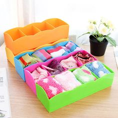 New Plastic 4 Divider Organizer Storage Box for Tie Bra Socks Drawer Cosmetic #Unbranded