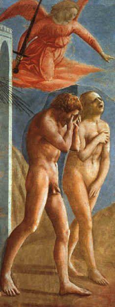Masaccio (Tommaso di Giovanni di Simone Guidi)  (1401 - 1428) Adán y Eva expulsados del Paraíso  1425  Iglesia del Carmine - Florencia