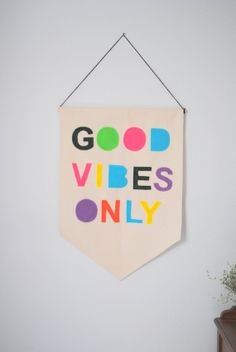 Good Vibes Only 23 x 16in Canvas Banner by SharpToothStudio