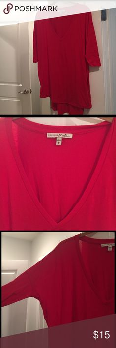 Soft and versatile from Express! So comfortable and can be worn 1 million ways. Three-quarter dolman sleeves, deep V-neck high-low hem. Bright red color so soft with a nice drape. From express one eleven collection. Smoke-free pet free home 🌸bundle to save! Express Tops