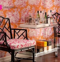 simple bar car / chinoiserie toile wallpaper and chippendale chair / preppy Home Design, Interior Design, Chippendale Chairs, Toile Wallpaper, Small Bars, Chinoiserie Chic, Interior Inspiration, Bedroom Inspiration, Furniture Design
