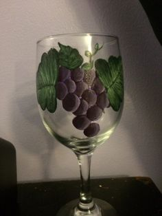 Hand Painted Grape Wine Glasses by JoceKrafts on Etsy