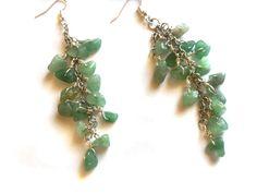Boho Green Aventurine  Cascade Earrings  Long by DameCreation