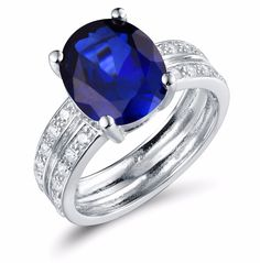 Oval Shape Red/Blue Corundum Silver GP Engagement Wedding Ring Double Shank 6# #AuroraTears #SolitairewithAccents