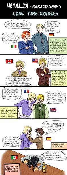 I...still kind of feel that way about USA and Spain...I guess we just kind of...pass the grudges through generations and hold on to them (and it WAS robbery,and the CONQUISTA was horrible) Hetalia Long time grudges by chaos-dark-lord.deviantart.com on @deviantART