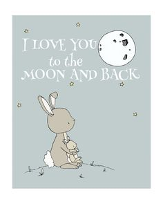 Bunny Nursery Art I Love You To The Moon door SweetMelodyDesigns
