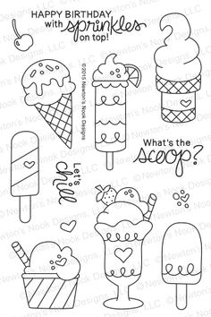 Retro Embroidery Summer Scoops - Newton's Nook Designs - Summer Scoops - Photopolymer Stamp Set by Newton's Nook Designs featuring Ice Cream Stamps Bullet Journal Ideas Pages, Bullet Journal Inspiration, Doodle Art Drawing, Stamp Drawing, Cute Doodles, Random Doodles, Cute Doodle Art, Food Doodles, Flower Doodles