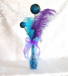 Peacock Wedding Table Centerpiece Decoration in Purple and Teal by sljbridal on Etsy https://www.etsy.com/listing/80510861/peacock-wedding-table-centerpiece