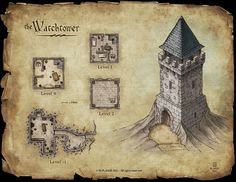 Watchtower - Commission for a RPG kickstarter project © M.PLASSE 2015 map cartography | Create your own roleplaying game material w/ RPG Bard: www.rpgbard.com | Writing inspiration for Dungeons and Dragons DND D&D Pathfinder PFRPG Warhammer 40k Star Wars Shadowrun Call of Cthulhu Lord of the Rings LoTR + d20 fantasy science fiction scifi horror design | Not Trusty Sword art: click artwork for source