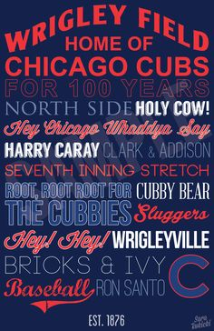 Chicago Cubs Typography Art - Canvas or Poster - Father's Day Gift