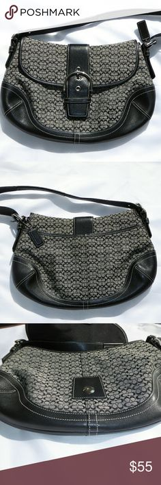 """Coach Medium Soho Signature Jacquard & Leather Hob Authentic Medium, Coach Soho Hobo, in gray jacquard mini logo print with black leather trimming and silver hardware.  Clean interior with dual compartments, a zip and slip pocket, with fold over over magnetic snap closure.   Exterior is in excellent condition, bag has been rarely used, stain, scuff, and mark free, with back slip pocket.  Leather strap is adjustable with 7.5"""" zipper 9.5"""" drop. Thank you for your interest in this beautiful…"""
