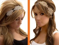 Swap the veil for an awesome headpiece for the reception!