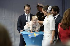 Princess Estelle has her own perch with which to watch her grandfather celebrate his 40 year reign in Sweden 9/15/2013