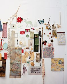 Executive editorial director for crafts Hannah Milman covers the surfaces of her office with worn linen sheets and then attaches bits of nature, buttons, ribbons, and other items that she acquires at flea markets, garage sales, and trimming shops.