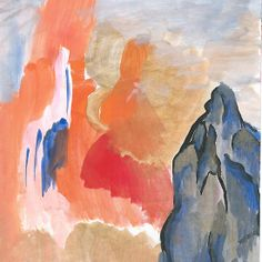 "Mountain Abstract painting by Jennifer D Burrell available as card, print, canvas and cell phone covers on RedBubble.  See all my products by searching ""creationsbyjdb"""