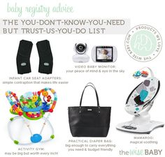 Baby Registry advice: take it or leave it? (The Wise Baby) Baby Registry List, Baby Monitor, Cloth Diapers, Baby Wearing, Baby Gear, Little Ones, Baby Car Seats, Diaper Bag, Trust