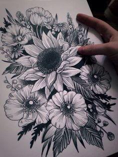 Sunflower Tattoo Sleeve, Sunflower Tattoo Shoulder, Sunflower Tattoo Small, Sunflower Tattoos, Sunflower Tattoo Design, White Sunflower, Black Tattoos, Body Art Tattoos, New Tattoos