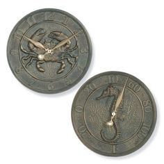 Outdoor Crab Clock and Seahorse Thermometer  Frontgate/Splash