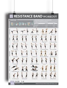 """Get into amazing shape with our resistance bands workout exercise poster. This 19""""x27"""" exercise poster features 30 + resistance band exercises to get total-body workouts. Resistance bands also called exercise bands or workout bands are one of the best fitness tools to gain flexibility and strength, and tone up your whole body. Resistance bands are easier to control the resistance and keep it on the targeted muscle or body part than weights. They are versatile, easy on the joints, an..."""