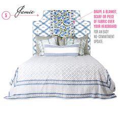 Furbish Studio bed, ikat upholstered headboard, suzani, #daretomix