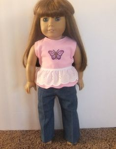 Butterfly Top w/ Jeans. American Girl Doll by PriscillasPatches, $8.00
