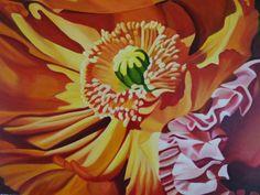 "Louise Taylor artist  Atherton Tablelands ""Sunburst Poppy"" - Artwork for Sale - 75 x 60 cm - Acrylic on Canvas - $900"