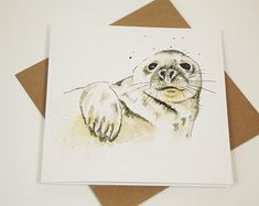 Birthday card/thank you card featuring watercolour of grey seal British Wildlife, Wildlife Art, Thank You Cards, Watercolour, Seal, Birthday Cards, Etsy Seller, Stationery, Greeting Cards