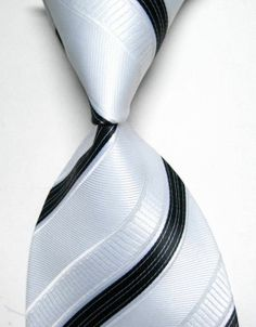 New Men's Black White Striped 100% Silk JACQUARD WOVEN Suits Tie Necktie B233