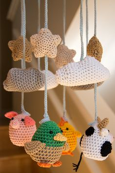Cute Crocheted Farm Animals Baby Mobile by minibytes on Etsy, $140.00-- I need someone to learn how to make this for me because I do not want to spend $140!!! How adorable!