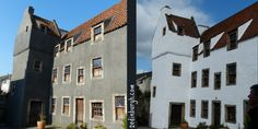 outlander locations culross - buildings were painted gray during the filming.  This is Geillis Duncan's House in Cranesmuir