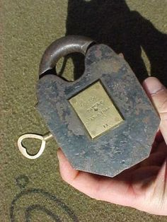 ANTIQUE LARGE IRON PADLOCK COLTON'S PATENT JAN 6,1844