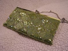 beaded green evening bag clutch straps beads by tonytheplane, $50.00