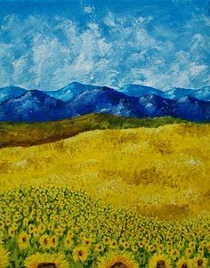 Sunflower Field of Provence France ORIGINAL by MikeKrausArt