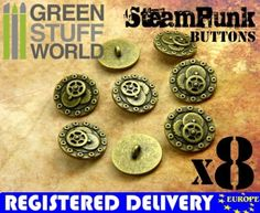 8x-Steampunk-Buttons-BOLTS-GEARS-Antique-Gold-20mm-Metal-Shank-button
