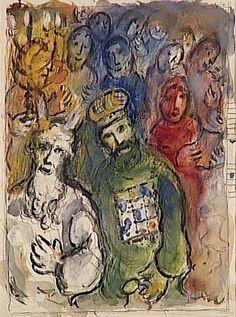 Марк Шагал -  Моисей и Аарон со старейшинами  (1966) - Открыть в полный размер