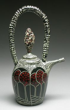 Marcy Neiditz - Marcy is influenced by plant-life and the microscopic world.  Branches, roots, bones, and microorganisms are some of the ingredients that occupy her imagination, and provide inspiration in the creation of her sculptural and functional vessels. Her work is wheel-thrown and hand-built. The process includes a layering of custom made glazes, slips, and underglazes, incised sgraffito and hand-painted surfaces, fired multiple times.
