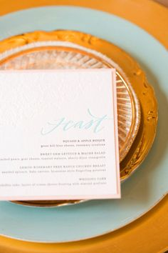 gorgeous letterpress   tiffany blue...I like this for the menu... Feast (with our feasting tables)