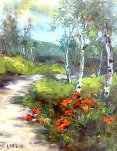 Artists Of Texas Contemporary Paintings and Art: Mountain Blossoms - Poppies and Aspens by Nancy Medina