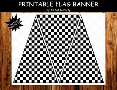 Race Day Birthday Party, Race Car Printable Party, Boy Birthday, Printable Checkered Flag Banner, Bunting, Black and White, Instant Download