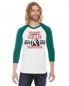 Authentic Bearded Collie Tradition 3/4 Sleeve Shirt