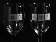 Etched Wine Glasses - Scrabble Tiles - MR and MRS. $30.00, via Etsy.