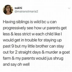 Tagged with funny, memes, lol, kinda funny, okay saying its funny is generous; memes for dayz Funny Tweets, Funny Relatable Memes, Funny Posts, Funny Stuff, Hilarious Jokes, Funny Things, Siblings Funny, Sibling Memes, Haha